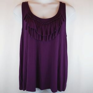Lane Bryant Tank Top Purple Ruffle Buttery Soft